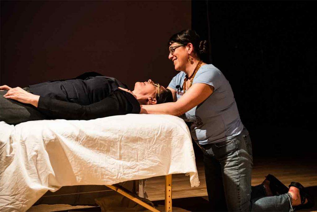 Nina Lichenstein and Karen Yates doing a demo on Wild & Sublime - Photo by Jeffrey Bivens